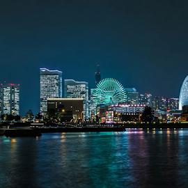 Yokohama Port by Rohmad Apriono Purwanto - City,  Street & Park  Night ( yokohama, japan, cruise, nightscape, port of call, cityscape )