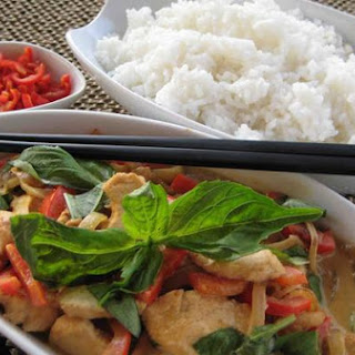 Thai Basil Chicken With Green Curry.