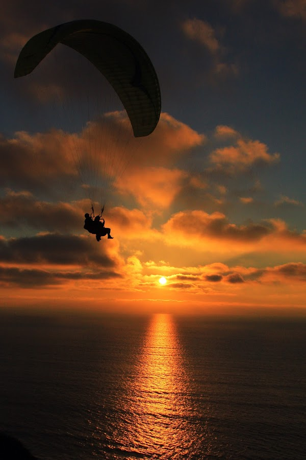 by Anthony Drake - Sports & Fitness Other Sports ( cliffs, paraglider, color, sunset, gliders,  )