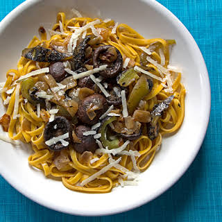 Saffron Pasta with Roasted Mushrooms,.