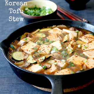 Korean Tofu Stew in Skillet .