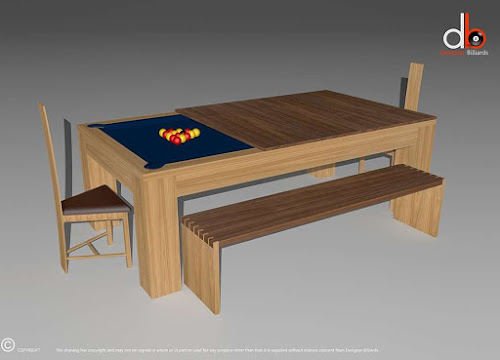a dining room table in the process of turning into a pool table