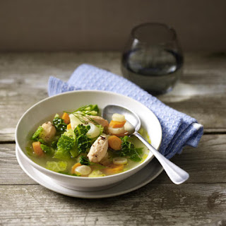 Vegetable Soup with Salmon Dumplings.