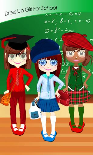打扮的女孩上学