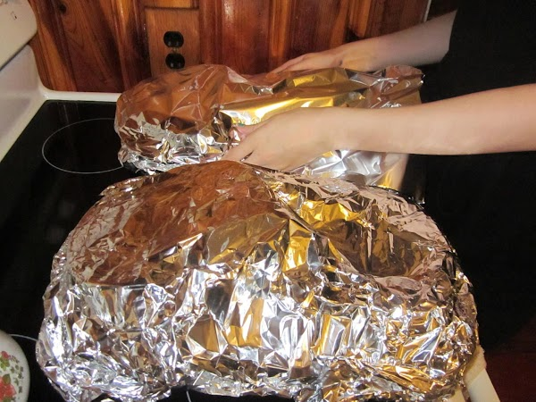 Cover pan with aluminum foil and bake for 1 hour or until pumpkin is...