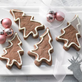 Christmas Tree Cookies with White-Chocolate Snow.