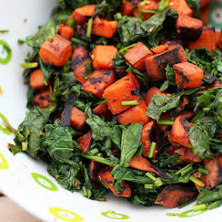 Grilled Sweet Potato and Wilted Kale Salad – Gluten-free + Vegan.