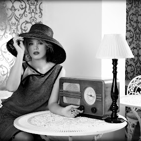 Vintage Miss Kimmy by Katja Zagar Photography - People Fashion ( old, fashion, vintage, cap, woman, lamp, radio, hotel, miss, black&white )