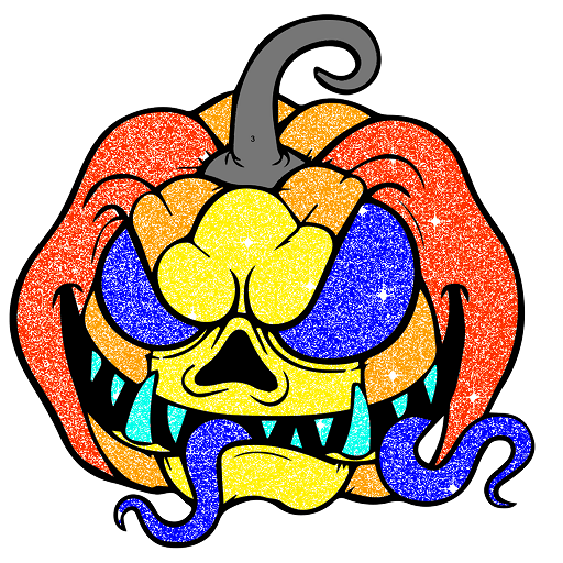 Halloween Glitter Color by Number Coloring Book Icon