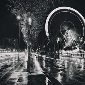 Wet Barcelona ferris wheel by Torsten Funke - City,  Street & Park  Street Scenes ( ferris, reflection, street, dark, reflections, night, street scene, barcelona, rain, ferris wheel, street photography,  )
