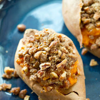 Twice-Baked Pecan Streusel Sweet Potatoes