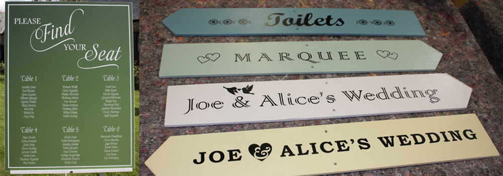Take a look at our range of wedding signs including directional arrows, seating plans and more.