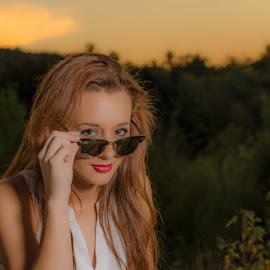 Gotta Wear Shades by Chris Cavallo - People Portraits of Women ( glasses, sunglasses, sunset, lady, portrait, look )