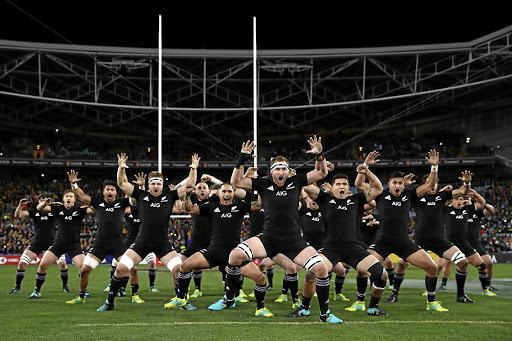 The All Blacks rugby team perform the famous haka.