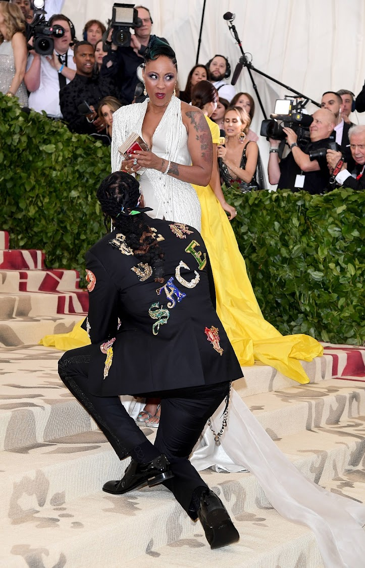 2Chainz proposes to Kesha Ward at Heavenly Bodies: Fashion & The Catholic Imagination Costume Institute Gala at the Metropolitan Museum of Art on May 7, 2018 in New York City.