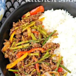 Mince Beef and Asparagus Stir Fry.