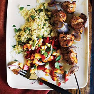 Chicken Kebabs and Nectarine Salsa.