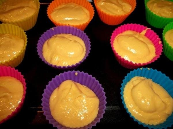 Fill each cupcake liner 2/3 full.