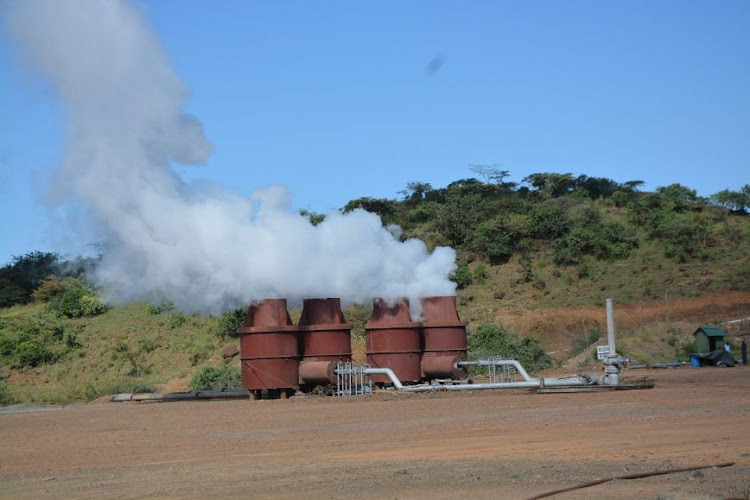 Discharging well at Paka geothermal field. Geothermal Development Company is opening a new field in the Baringo Silali area.
