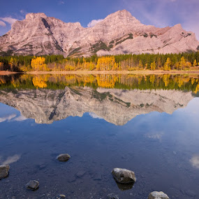 Wedge Pond in Fall by Dan Warkentin - Landscapes Mountains & Hills ( water, reflection, mountain, fall, pwcautumn )