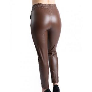 Pantaloni dama cu aspect de piele - Maro