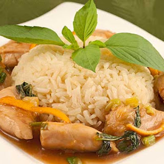Orange-Basil Chicken with Creamy Coconut Rice.