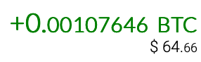 Screenshot of the amount of BTC yielded when purchasing Bitcoin with Easy Crypto.