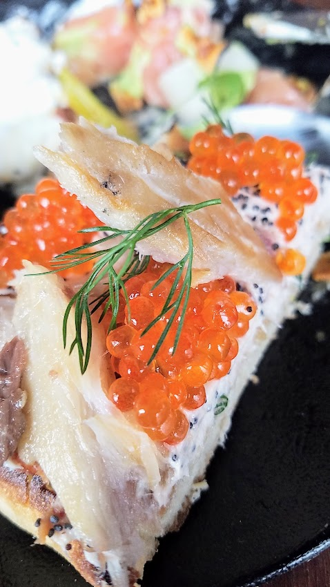 Bar Casa Vale Brunch English Muffin with smoked whitefish, cream cheese and trout roe