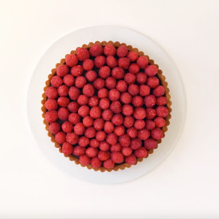 Chocolate Ganache Tart with Raspberries.