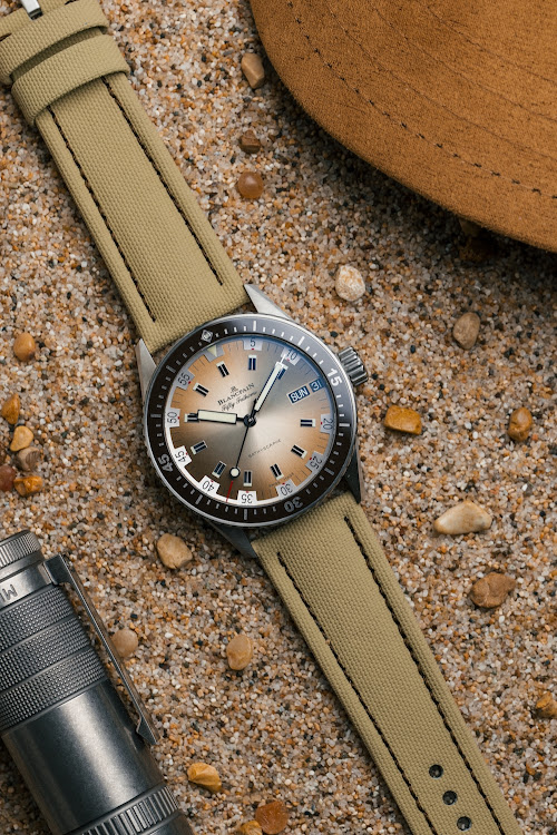 The limited-edition model is inspired by a Blancpain diver's watch from the 1970s.