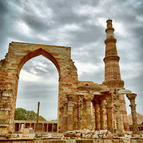 Qutub by Akshay K - Uncategorized All Uncategorized ( phone, cloudy, historical, minar, qutub )
