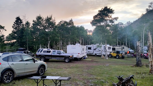 Packed campsite on Saturday evening