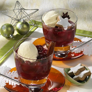 Hot Cherry Punch and Vanilla Ice Cream