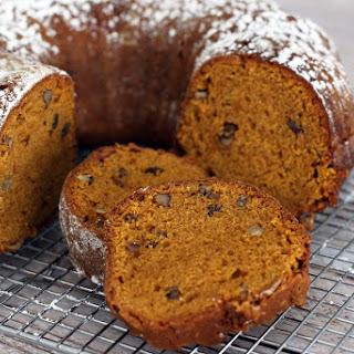 Spiced Pumpkin Bread With Walnuts and Optional Raisins.