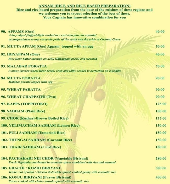 Coconut Grove menu 7