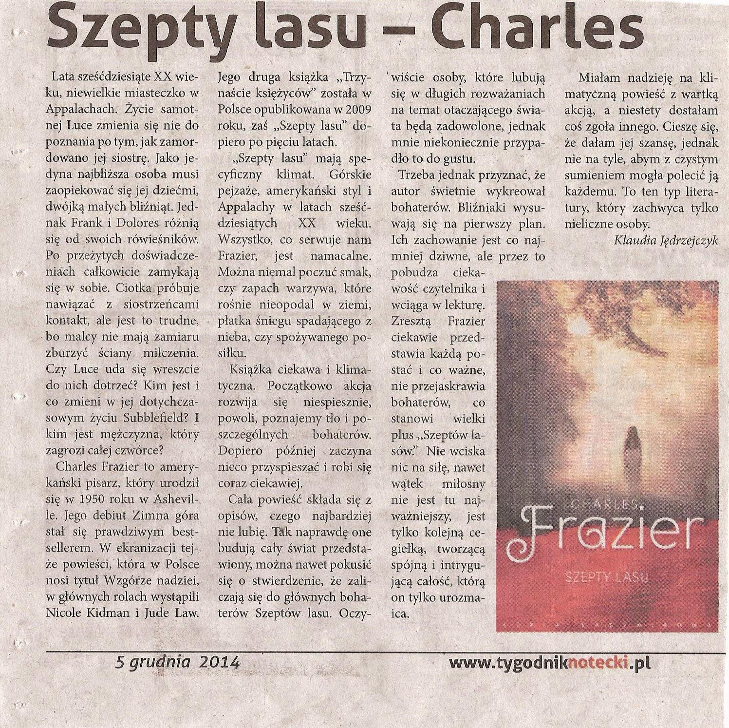 Photo: http://szeptksiazek.blogspot.com/2014/07/szepty-lasu-charles-frazier.html