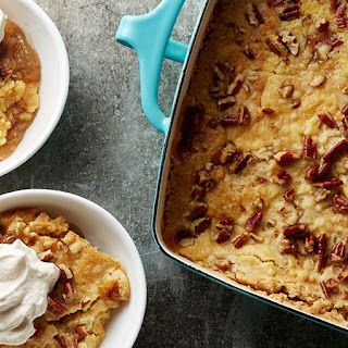 Caramel Apple Dump Cake with Spiced Whipped Cream.