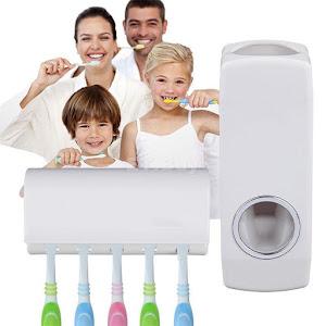 Oferta 1+1 Gratis! Dozator pasta de dinti cu suport pentru 5 periute