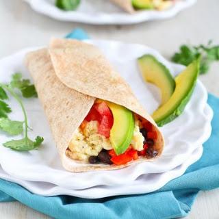 Healthy Breakfast Burrito with Chipotle Yogurt.