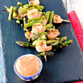 Asparagus and Shrimp Kabobs with Bang Bang Sauce.