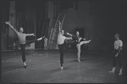 Jerome Robbins in rehearsal with cast for the stage production West Side Story