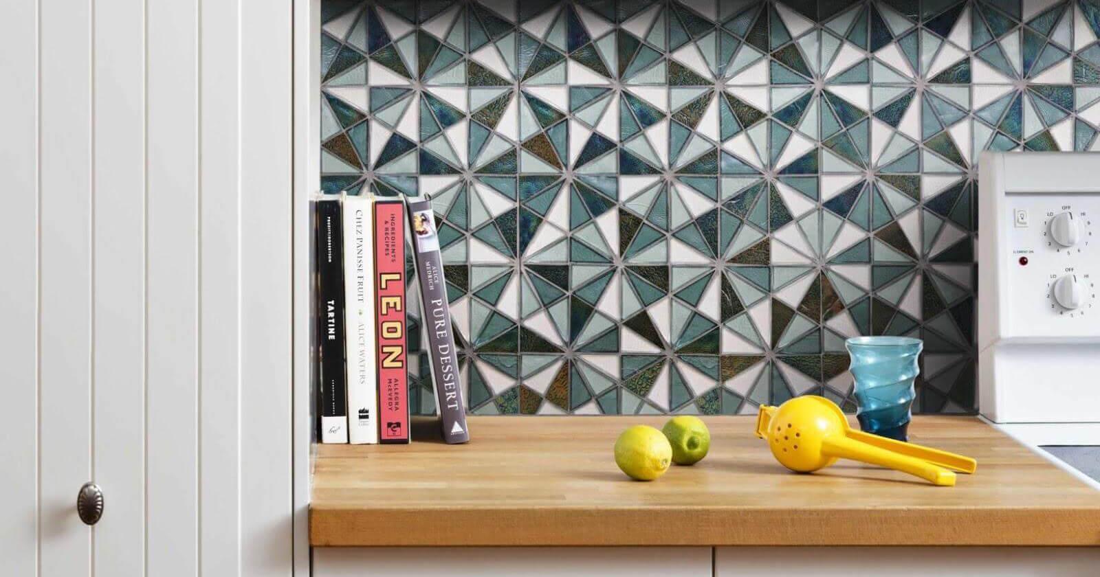 Colorful triangle mosaic tiles on a kitchen backsplash