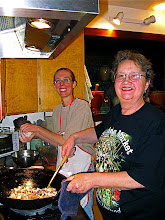 Photo: Amber adds rice while Linda stir-fries
