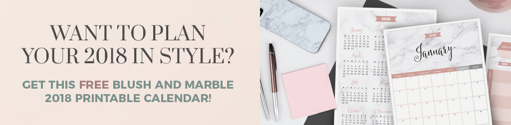 Want to plan your 2018 in style?  Get this free blush and marble 2018 printable calendar!