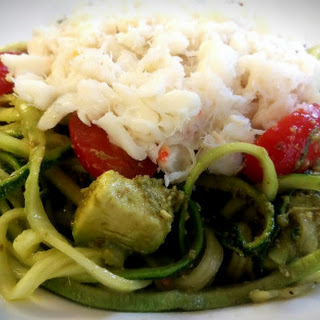 Courgette Noodle, Tomato, Avocado And Crab Salad With Pesto.