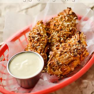 Cheddar Dijon Baked Pretzel Chicken Tenders.
