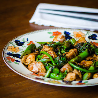 Chicken with Broccolini and Black Bean Sauce.