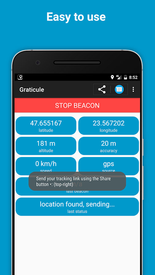 Graticule - simple real-time location sharing app- screenshot