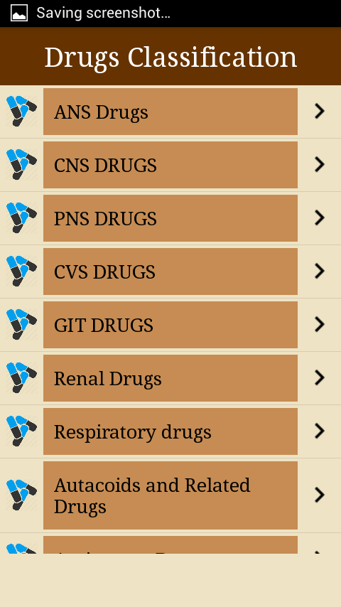 Drugs Classifications- screenshot