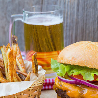 Homemade Burger and Fries with Jack Daniel's BBQ Sauce.